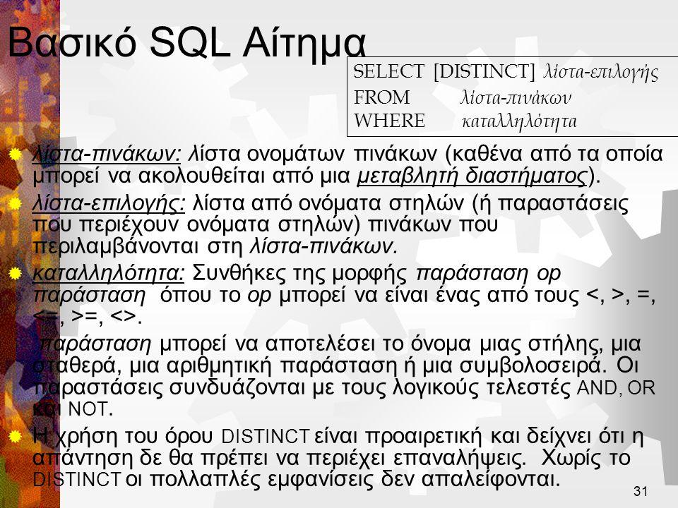 Βασικό SQL Αίτημα SELECT [DISTINCT] λίστα-επιλογής. FROM λίστα-πινάκων. WHERE καταλληλότητα.